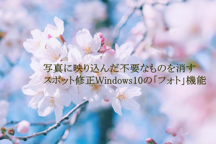 写真に映り込んだ不要なものを消す/スポット修正Windows10の「フォト」機能